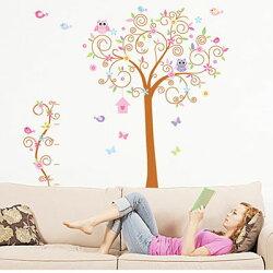 WallFree窩自在 DIY無痕壁貼 牆貼(雙拼款)-繽紛小樹 JM7250