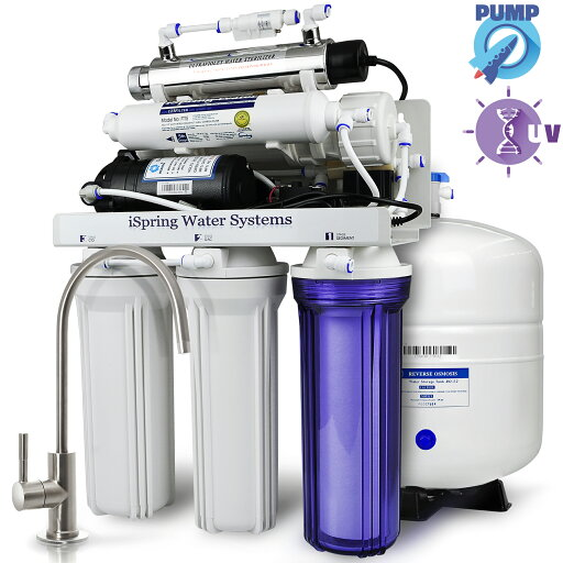 100GPD 6-Put on Reverse Osmosis RO UV Water Filter System with Booster Pump, Luxury faucet, Fine housing, and NSF certified 3.2 Gallon Tank - iSpring - RCC1UP