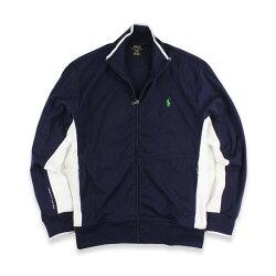 美國百分百【全新真品】Ralph Lauren RL 小馬 立領 外套 夾克 POLO 棉質 深藍 滾邊 L號 I781