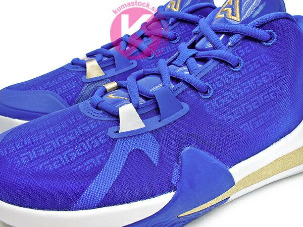 2019 最新款 Giannis Antetokounmpo 首款簽名籃球鞋 NIKE FREAK 1 GS GREECE 大童鞋 女鞋 藍白金 希臘 字母哥 MVP 公鹿隊 (BQ5633-400) 1019 2