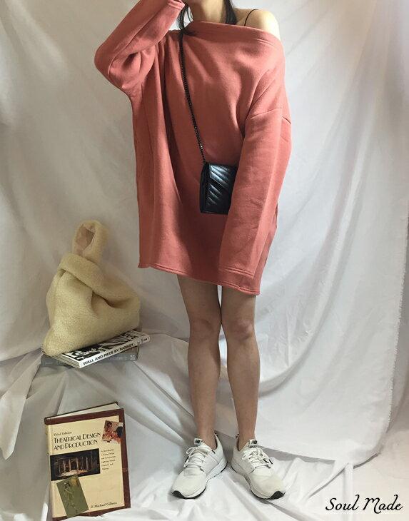 Soul Made - 韓製 平領內刷毛側口袋長版衣 4色 4
