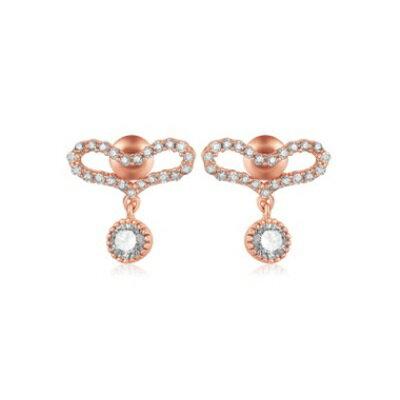 純銀耳環鍍白金鑲鑽耳飾~ 百搭愛心情人節生日 女飾品2色73cr396~ ~~米蘭 ~