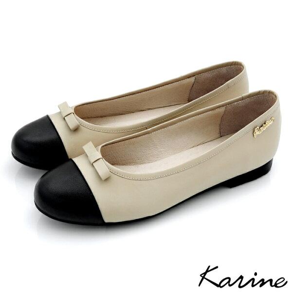 karine(MIT台灣製)全真皮拼色蝴蝶結娃娃鞋-時尚米