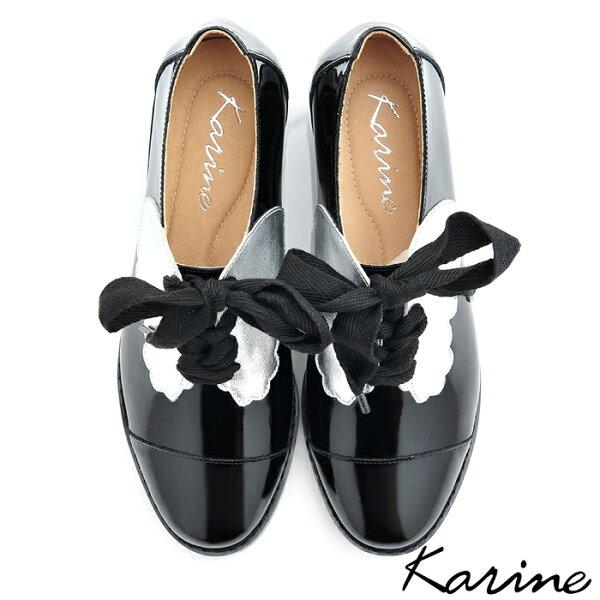 karine(MIT台灣製)全真皮拼色綁帶粗跟牛津鞋-炫銀黑
