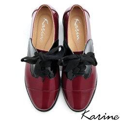 karine(MIT台灣製)全真皮拼色綁帶粗跟牛津鞋-黑桃皇后