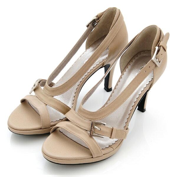 karine(MIT台灣製)全真皮羅馬高跟涼鞋-淺杏仁