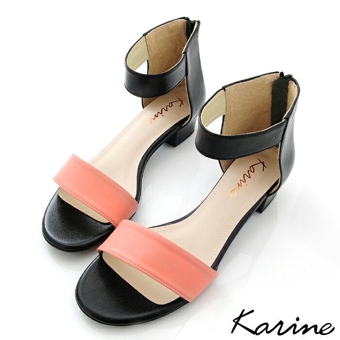 karine MIT 製 全真皮一字帶低跟涼鞋~粉橘