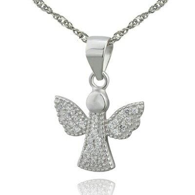 925純銀項鍊 鑲鑽吊墜~ 天使翅膀母親節情人節生日 女飾品73dk39~ ~~米蘭 ~