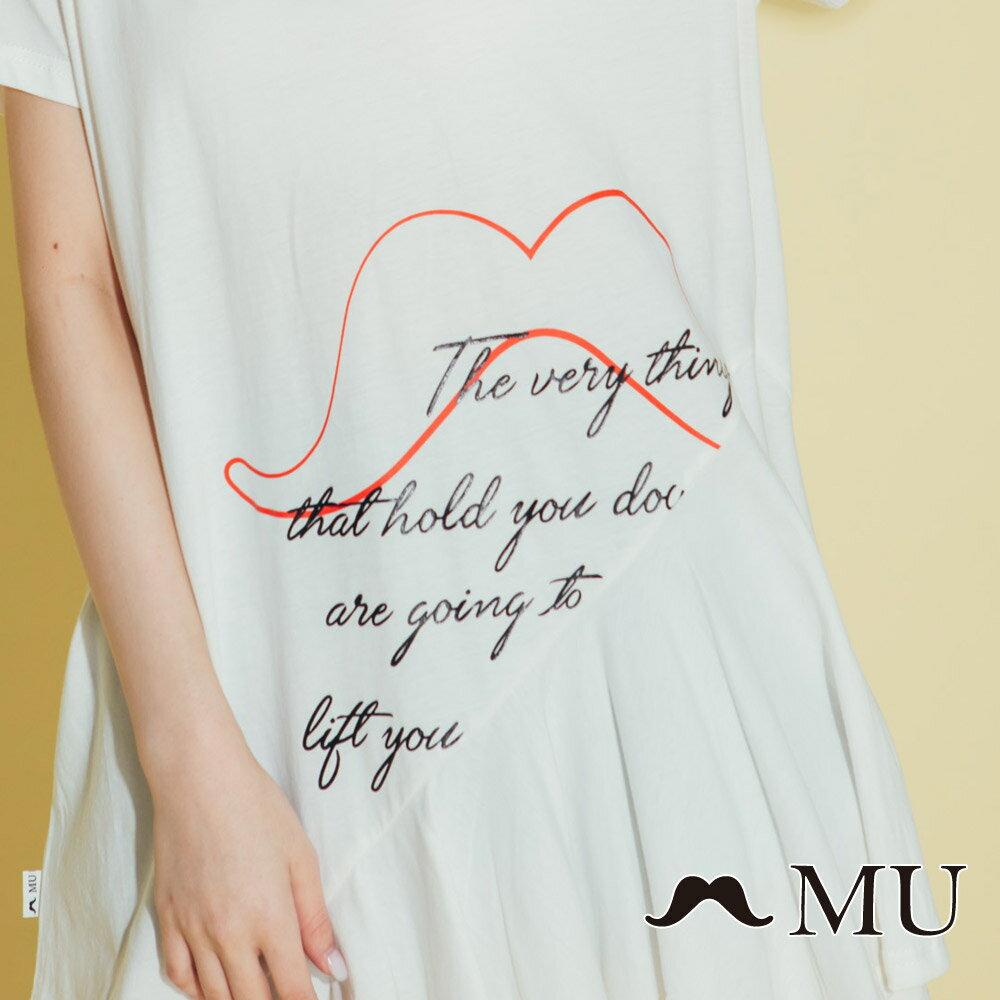 【MU】鬍子印花長版裙襬上衣(2色)8321362 1