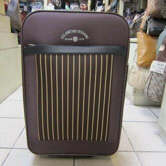~雪黛屋~Velamtino 范倫鐵諾 25吋 可加大行李箱 時尚外型 流線設計 輕巧好推拉 V590623咖啡
