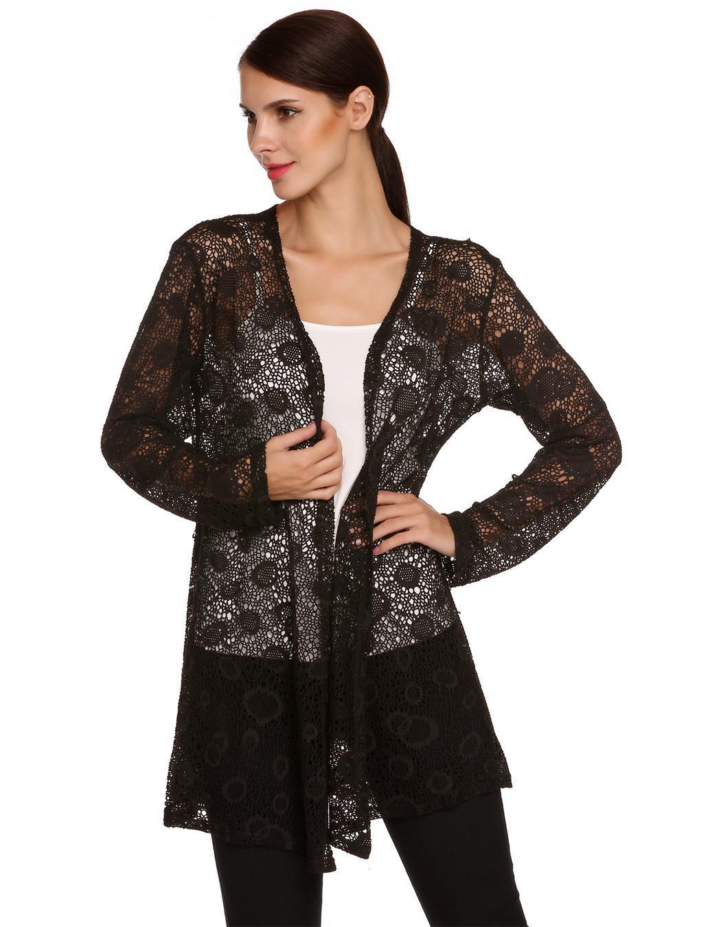 Women Long Sleeve Hollow Out Crochet Long Cardigan Tops 0