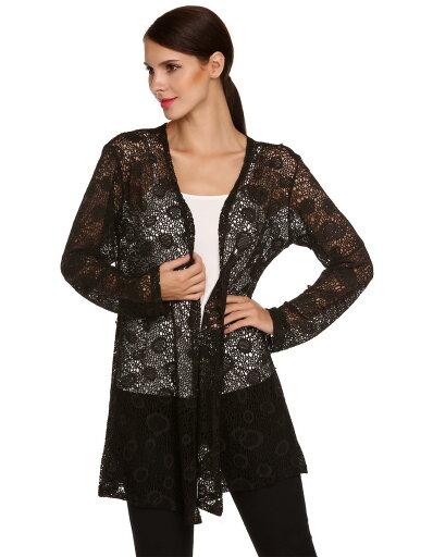 Women Long Sleeve Hollow Out Crochet Long Cardigan Tops c9459c3cfbaec735f54c7d914ff6c6e6