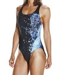 SPEEDO LOGO 女用 瀑布 泡沫 印花 競速 快乾 連身泳衣  SD806970C191 黑 藍[陽光樂活]
