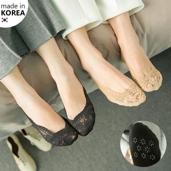 韓國 蕾絲 隱形襪 短襪 防滑矽膠 正韓 黑膚 娃娃鞋 正韓 Anna S.