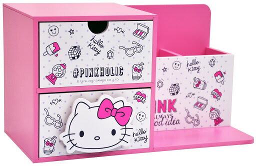 【崑山玩具x日韓精品】木製Hello Kitty PINKHOLIC多功能收納兩抽盒