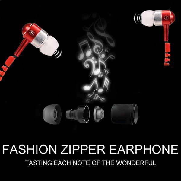 Universal 3.5mm Jack In-Ear Earphone Zipper Closure Earbuds Headphone with Mic for Phone PC Computer 0