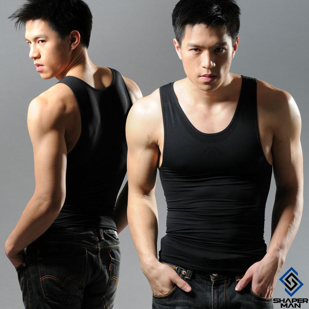 SHAPER MAN-機能壓縮 肌力機能衣-背心(黑)