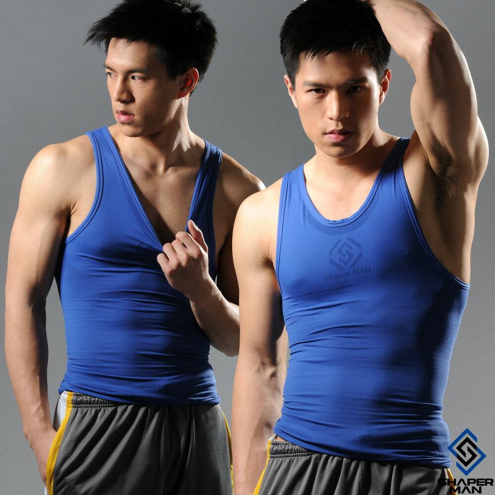 SHAPER MAN-機能壓縮 肌力機能衣-背心(藍)