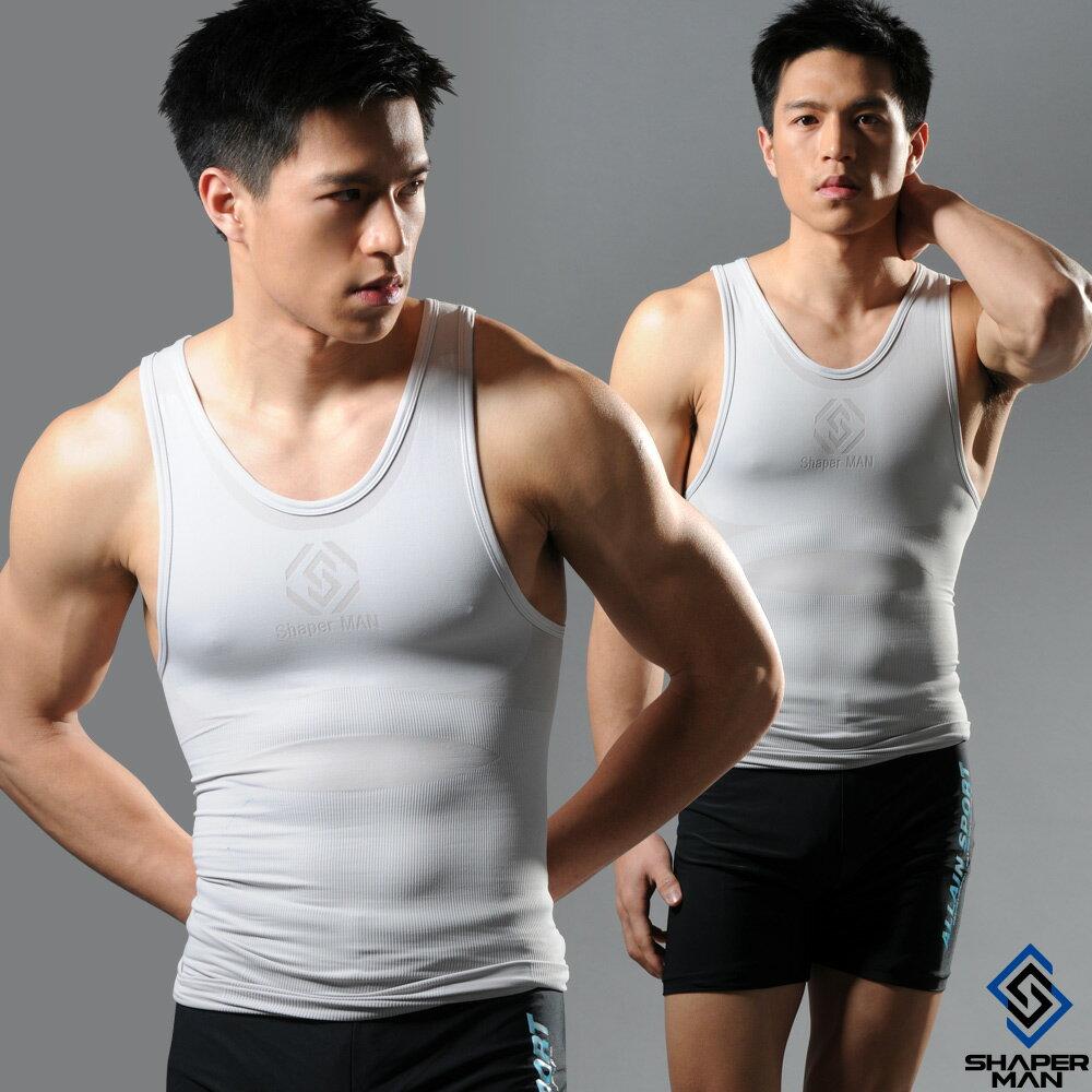 SHAPER MAN-機能壓縮 肌力機能衣-背心(灰)
