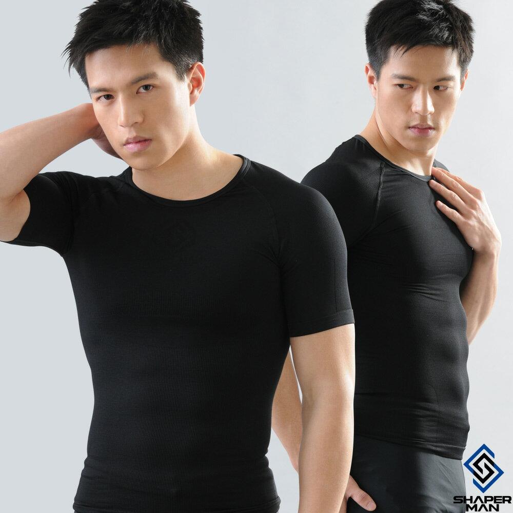 SHAPER MAN-機能壓縮 肌力機能衣-短袖(黑)