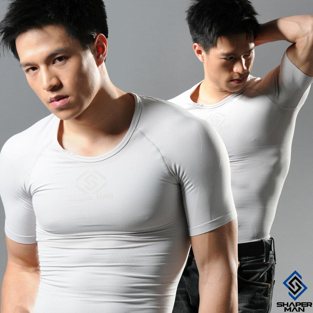 SHAPER MAN-機能壓縮 肌力機能衣-短袖(灰)
