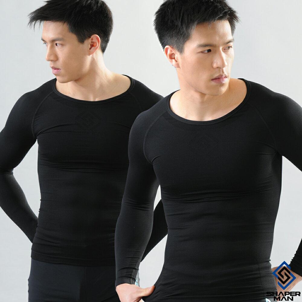 SHAPER MAN-機能壓縮 肌力機能衣-長袖(黑)