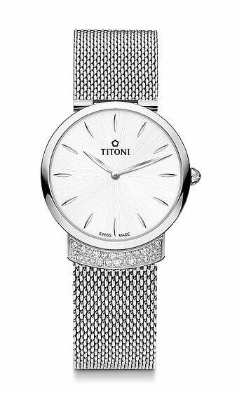 TITONI瑞士梅花錶優雅伊人系列TQ42912S-590簡約金屬時尚腕錶/銀+白32mm