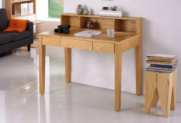 ~尚品傢俱~JF~877~2 典雅3.6尺栓木本色三抽書桌