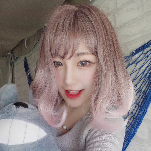 漸層挑染紫混粉擬真韓系假髮短髮【MB430】☆雙兒網☆
