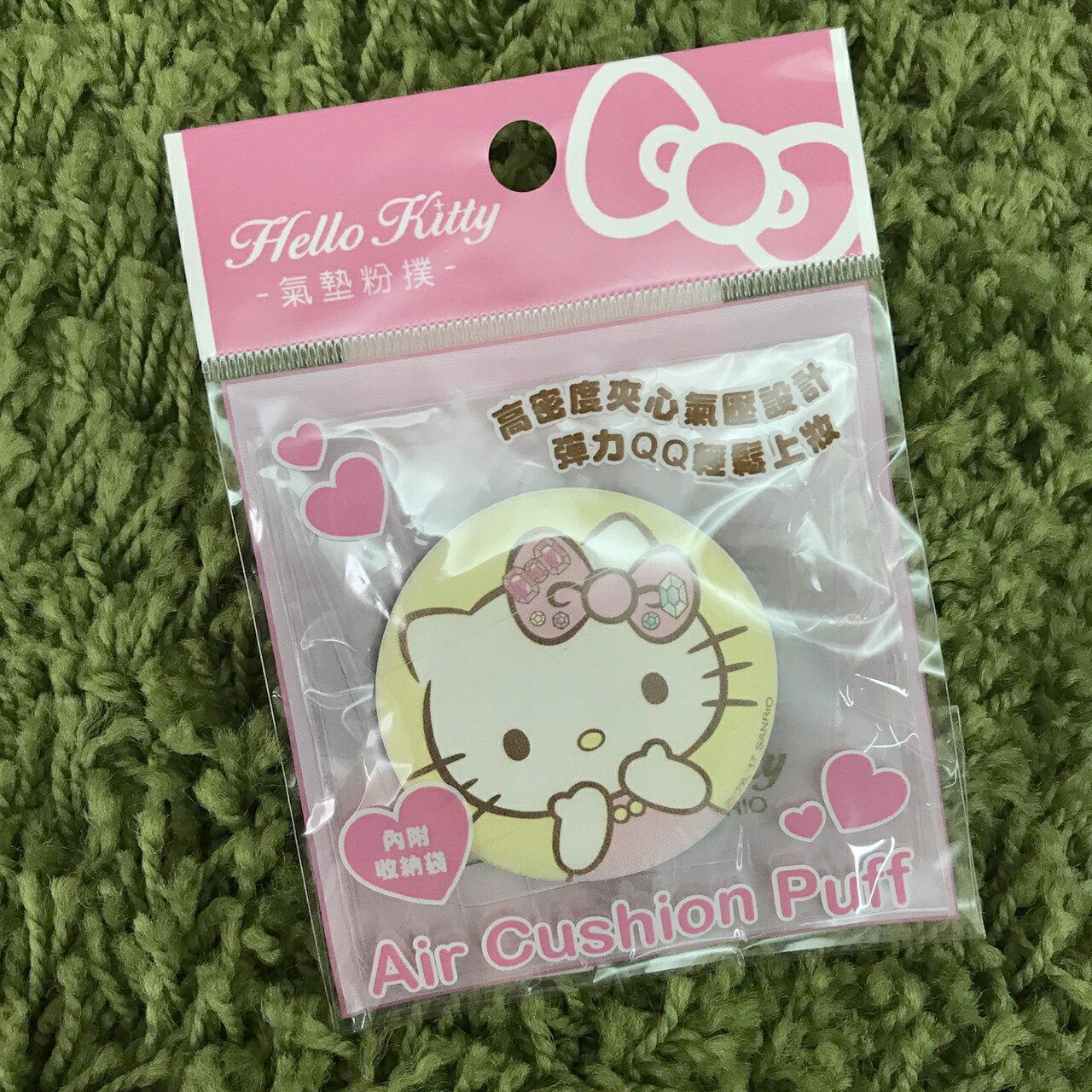 【唯愛日本】17082500001 氣墊粉撲附收納袋-KT寶石 三麗鷗 kitty 凱蒂貓 粉餅 美妝用品