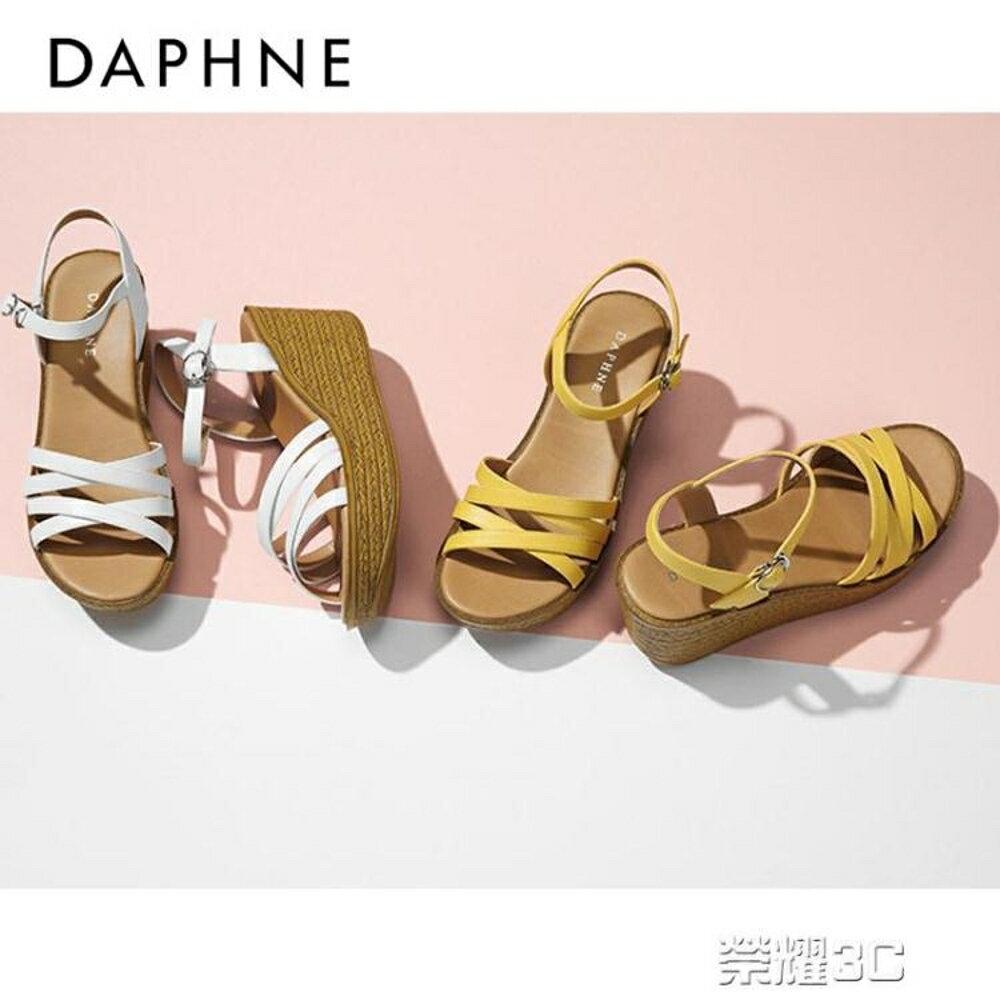 坡跟女涼鞋  一字帶編織坡跟新圓頭露趾甜美交叉涼鞋 清涼一夏特價