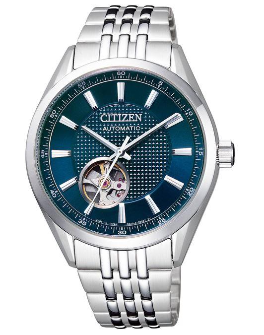 CITIZEN 星辰 NH9110-81L Mechanical開芯鏤空時尚機械腕錶 /銀湖水綠 40mm