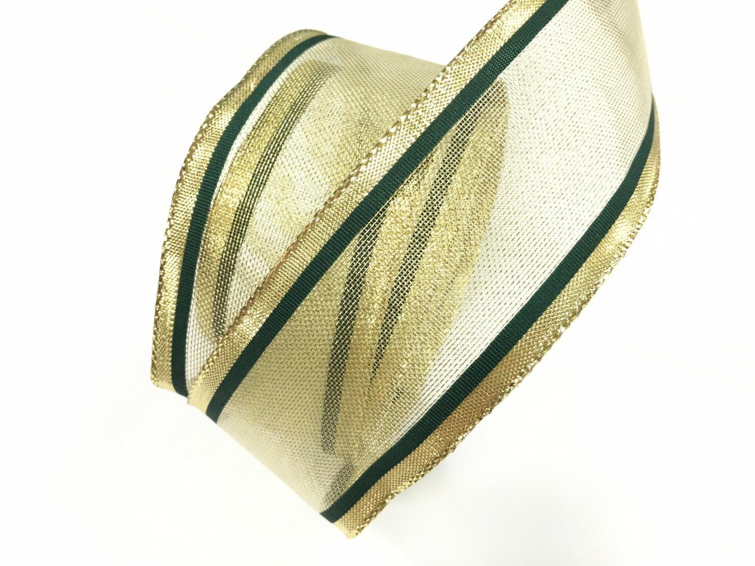 金屬彩邊緞帶+鐵絲緞帶 38mm 3碼 (4色) 0