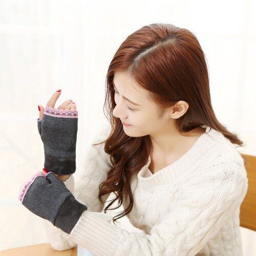 手套 萌蕾絲花邊 保暖  露指 手套【PU1641】 BOBI  11/17 0