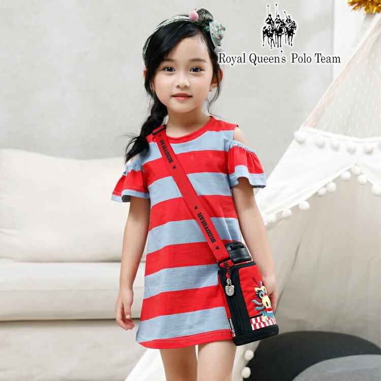 小童露肩條紋連身洋裝 RQ POLO  85447  春夏  5~15碼
