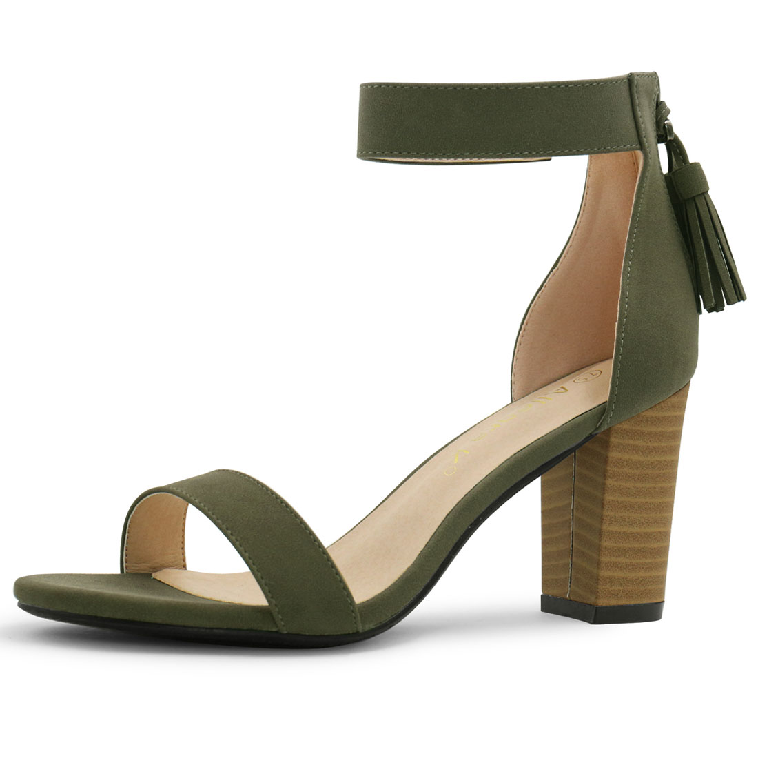 01da534a246 Unique Bargains Women s Open Toe Tassel Stacked Heel Ankle Strap Sandals  Khaki Green (Size 4.5