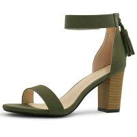 0d4ba32dc2c4 Unique Bargains Women s Open Toe Tassel Stacked Heel Ankle Strap Sandals  Khaki Green (Size 4.5