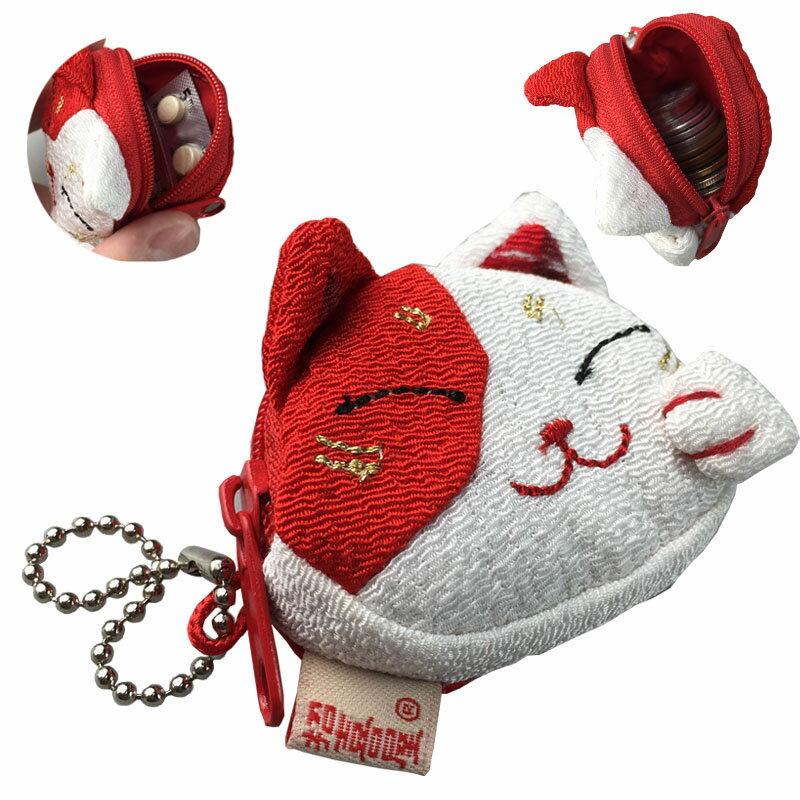 日本進口 招喜屋 和風拼布招財貓臉型(迷你)零錢包/吊飾(10款)