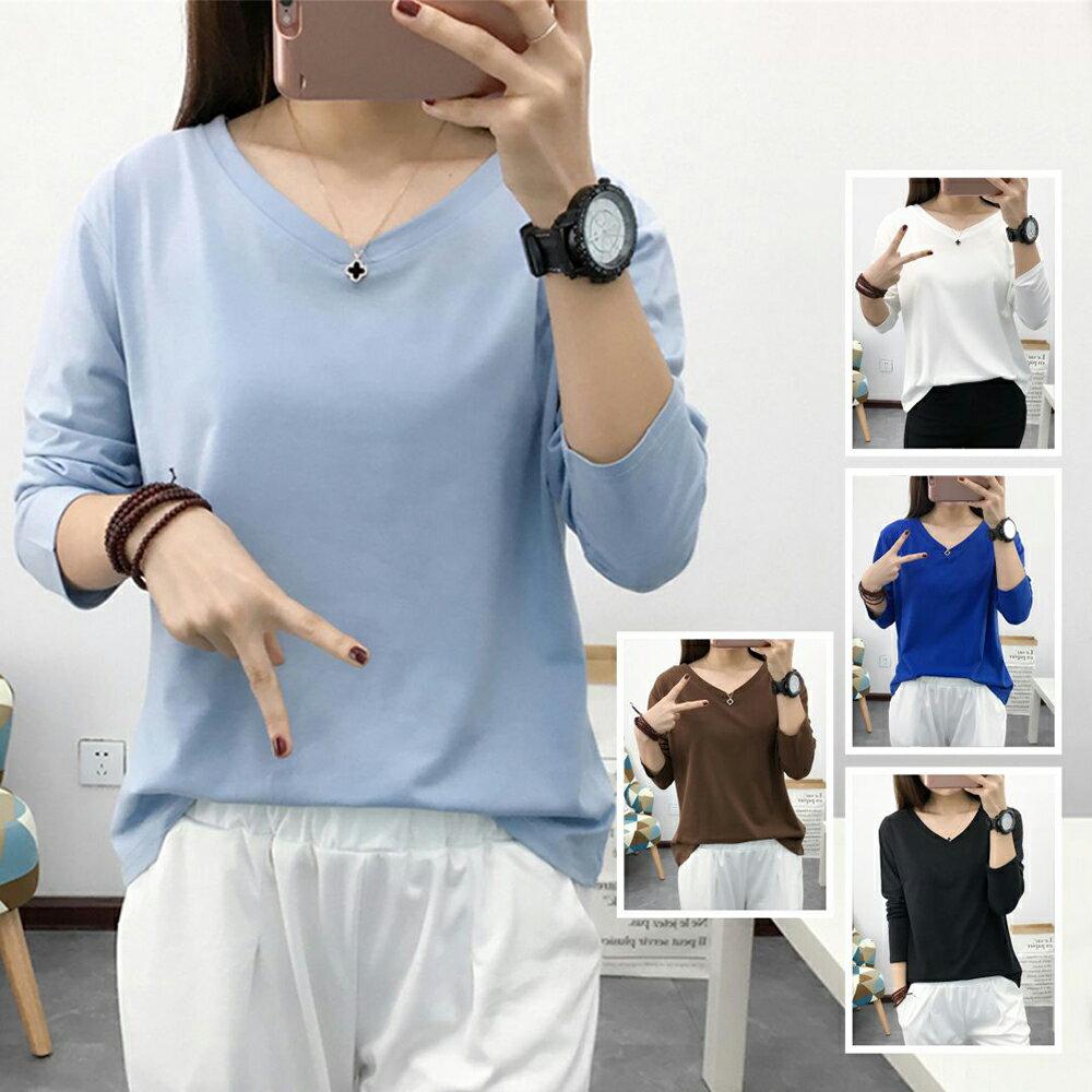 抗起球長袖雙V領寬鬆T恤(5色M~3XL)【OREAD】 1