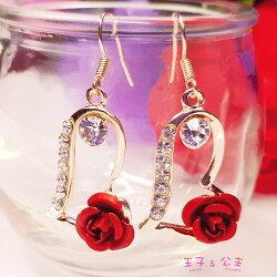 防過敏合金耳環  玫瑰側鑲心型耳環EC2030  日韓/耳飾/飾品/水鑽/鋯石/鋯鑽/王子與公主