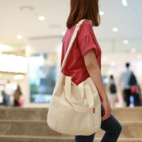 【韓國直送】側背包韓國LEFTFIELD簡約純色棉布背包肩背包手提包NO.1323