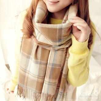 圍巾 韓系米色格紋流蘇披肩圍巾(預+現) Korea Q【14100037】