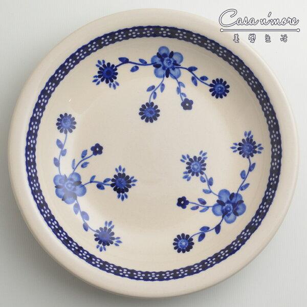 波蘭陶歐式青花系列圓形深餐盤陶瓷盤菜盤水果盤圓盤深盤22cm波蘭手工製