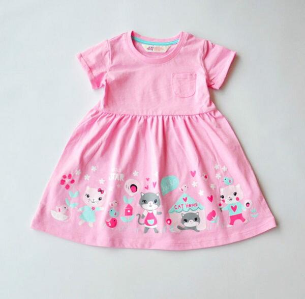 EMMA商城^~ 專櫃 粉色貓咪一家短袖褶皺兒童純棉洋裝女童連衣裙