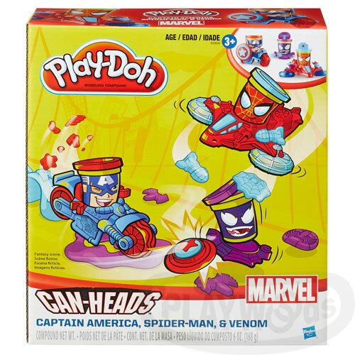 【Playwoods】[培樂多黏土PLAYDOH]漫威英雄交通工具遊戲組:美國隊長/蜘蛛人/猛毒(內含3罐黏土&交通工具/孩之寶Hasbro/Mavel/SpiderMan/Captain America)