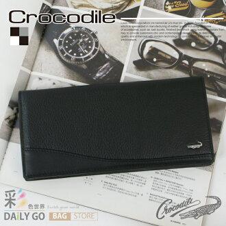 長夾 Crocodile 鱷魚 進口真皮 長皮夾-黑 0103-62011 禮物推薦