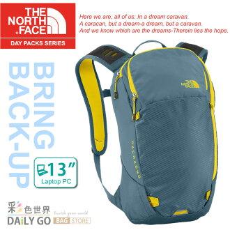 The North Face 12L 輕量電腦背包 後背包/電腦包-柴油藍 / 酸性黃 C088-W2N