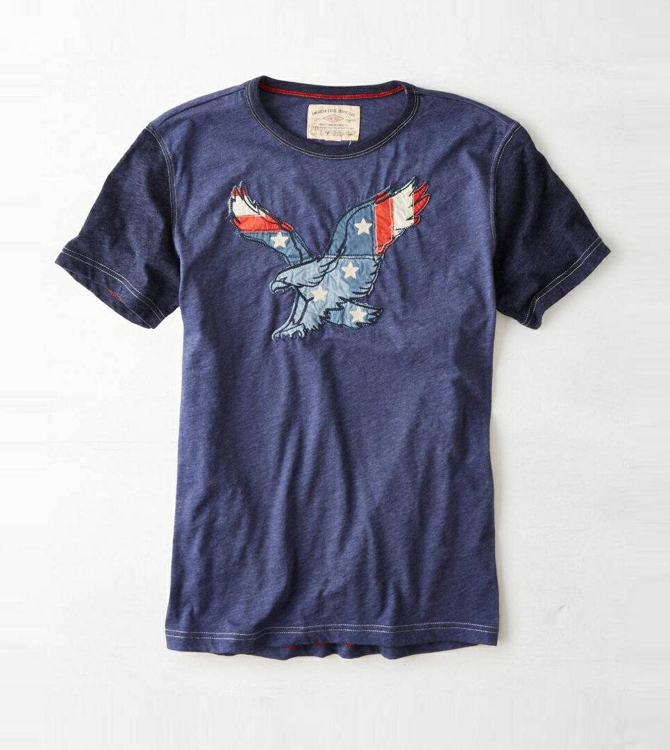 美國百分百【American Eagle】T恤 AE 短袖 上衣 T-shirt 老鷹 深藍 貼布 男 國旗 M號 F255