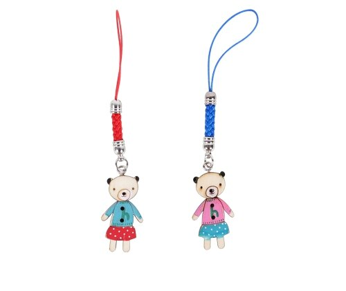 木頭吊飾 防塵塞-可愛熊 手機吊飾 鑰匙圈吊飾 防塵塞 鄉村風