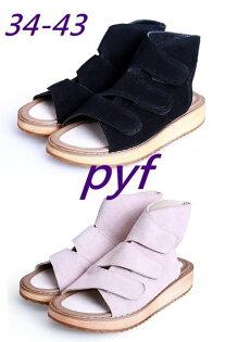 Pyf♥韓版個性街拍魔鬼氈真皮舒適好穿可調整厚底涼鞋4243大尺碼女鞋